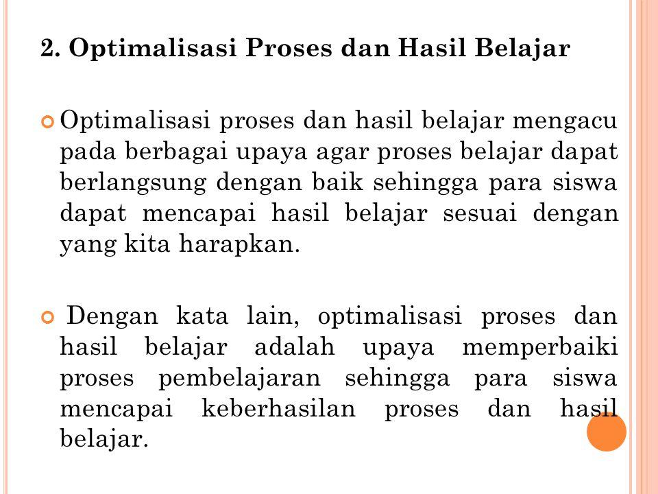 2. Optimalisasi Proses dan Hasil Belajar Optimalisasi proses dan hasil belajar mengacu pada berbagai upaya agar proses belajar dapat berlangsung denga