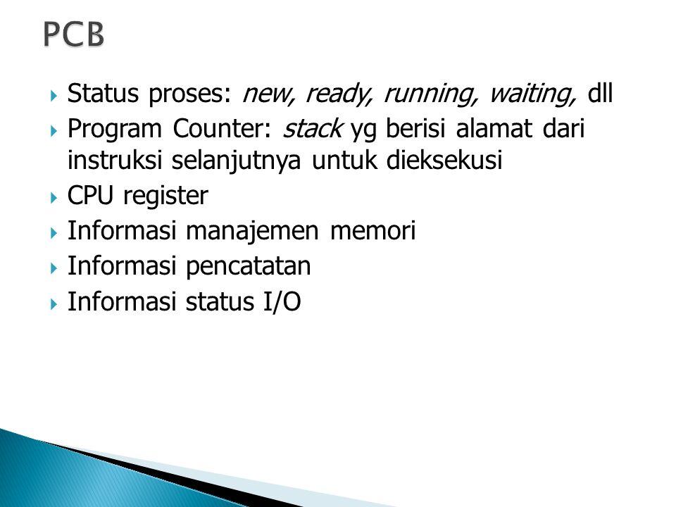  Status proses: new, ready, running, waiting, dll  Program Counter: stack yg berisi alamat dari instruksi selanjutnya untuk dieksekusi  CPU register  Informasi manajemen memori  Informasi pencatatan  Informasi status I/O