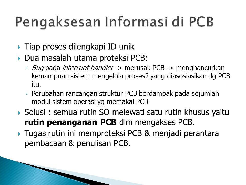  Tiap proses dilengkapi ID unik  Dua masalah utama proteksi PCB: ◦ Bug pada interrupt handler -> merusak PCB -> menghancurkan kemampuan sistem mengelola proses2 yang diasosiasikan dg PCB itu.