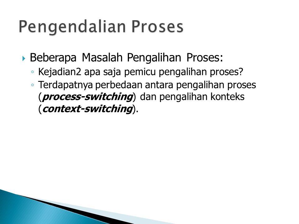  Beberapa Masalah Pengalihan Proses: ◦ Kejadian2 apa saja pemicu pengalihan proses? ◦ Terdapatnya perbedaan antara pengalihan proses (process-switchi