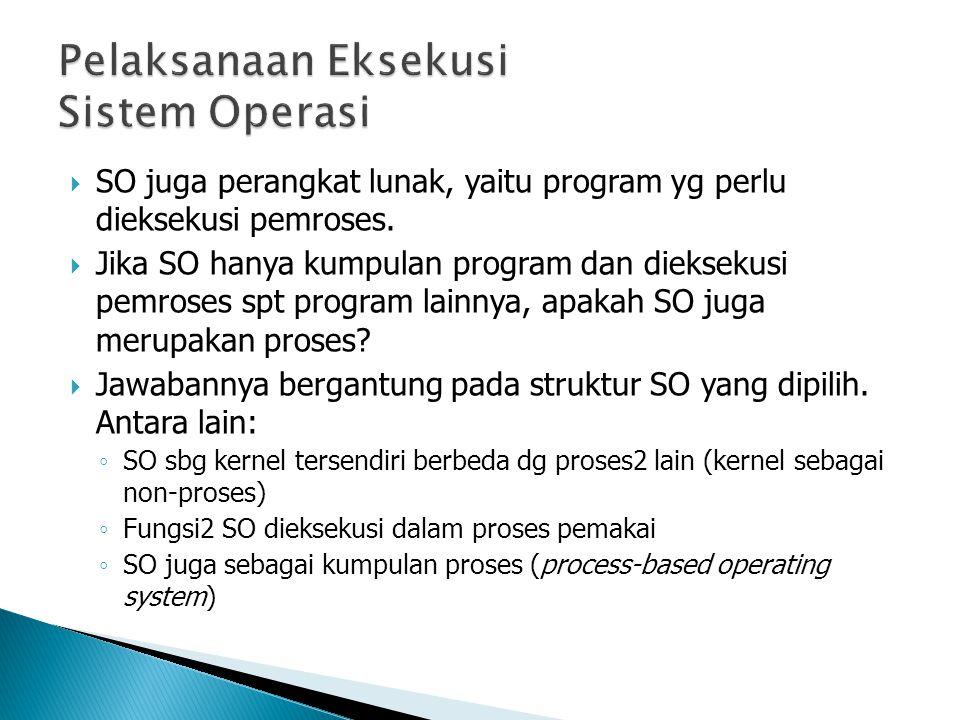  SO juga perangkat lunak, yaitu program yg perlu dieksekusi pemroses.  Jika SO hanya kumpulan program dan dieksekusi pemroses spt program lainnya, a