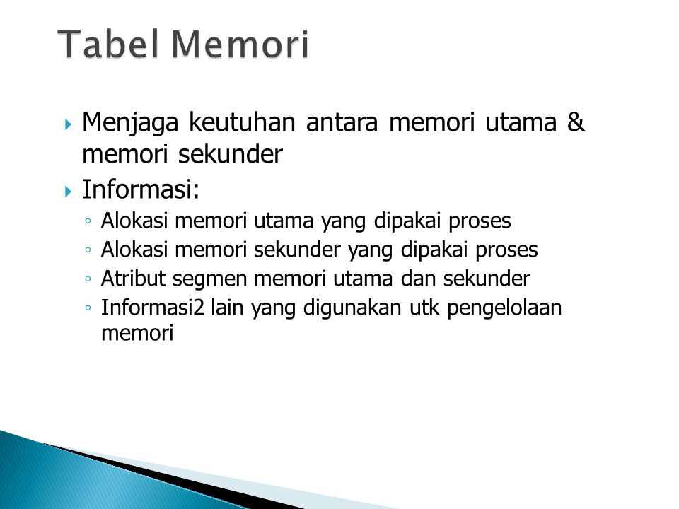  Menjaga keutuhan antara memori utama & memori sekunder  Informasi: ◦ Alokasi memori utama yang dipakai proses ◦ Alokasi memori sekunder yang dipakai proses ◦ Atribut segmen memori utama dan sekunder ◦ Informasi2 lain yang digunakan utk pengelolaan memori