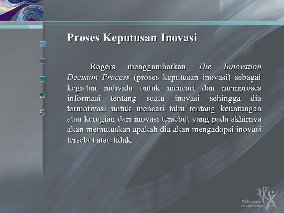 Proses Keputusan Inovasi Rogers menggambarkan The Innovation Decision Process (proses keputusan inovasi) sebagai kegiatan individu untuk mencari dan m