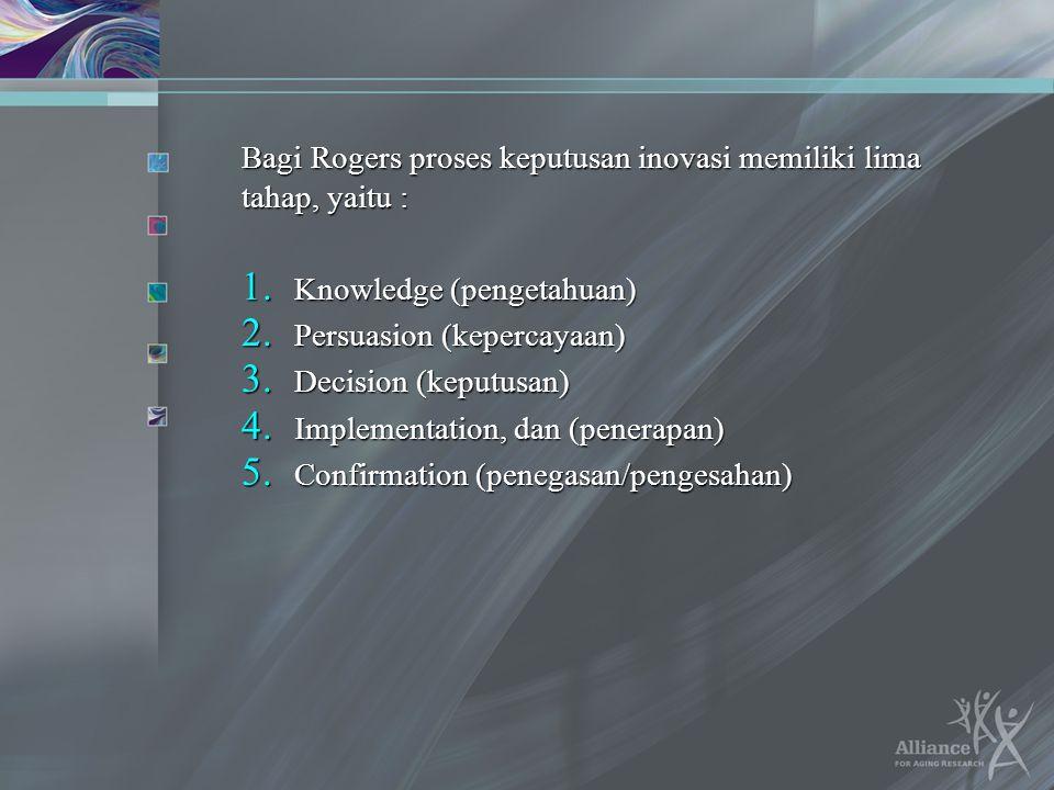 Bagi Rogers proses keputusan inovasi memiliki lima tahap, yaitu : 1. Knowledge (pengetahuan) 2. Persuasion (kepercayaan) 3. Decision (keputusan) 4. Im
