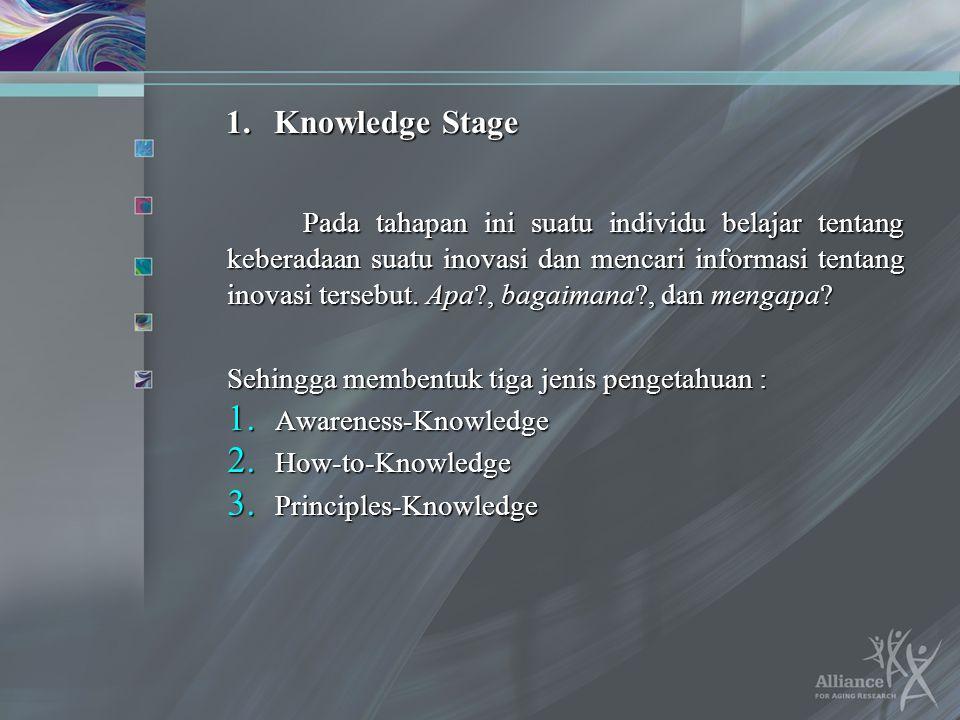 1.Knowledge Stage Pada tahapan ini suatu individu belajar tentang keberadaan suatu inovasi dan mencari informasi tentang inovasi tersebut. Apa?, bagai