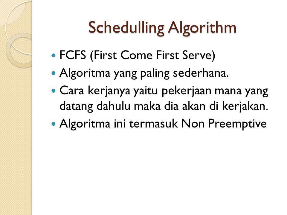 Schedulling Algorithm FCFS (First Come First Serve) Algoritma yang paling sederhana. Cara kerjanya yaitu pekerjaan mana yang datang dahulu maka dia ak