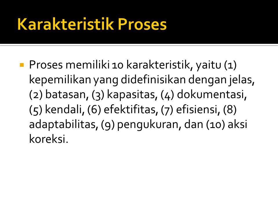  Proses memiliki 10 karakteristik, yaitu (1) kepemilikan yang didefinisikan dengan jelas, (2) batasan, (3) kapasitas, (4) dokumentasi, (5) kendali, (6) efektifitas, (7) efisiensi, (8) adaptabilitas, (9) pengukuran, dan (10) aksi koreksi.