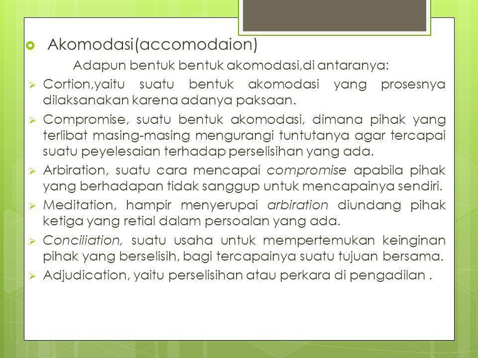  Akomodasi(accomodaion) Adapun bentuk bentuk akomodasi,di antaranya:  Cortion,yaitu suatu bentuk akomodasi yang prosesnya dilaksanakan karena adanya