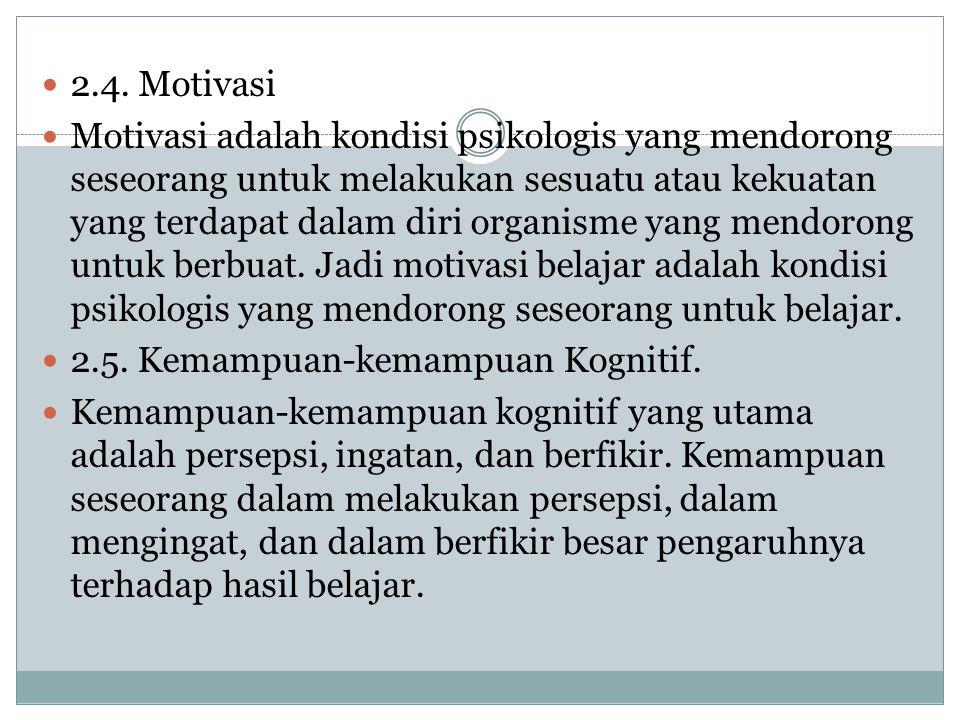 2.4. Motivasi Motivasi adalah kondisi psikologis yang mendorong seseorang untuk melakukan sesuatu atau kekuatan yang terdapat dalam diri organisme yan