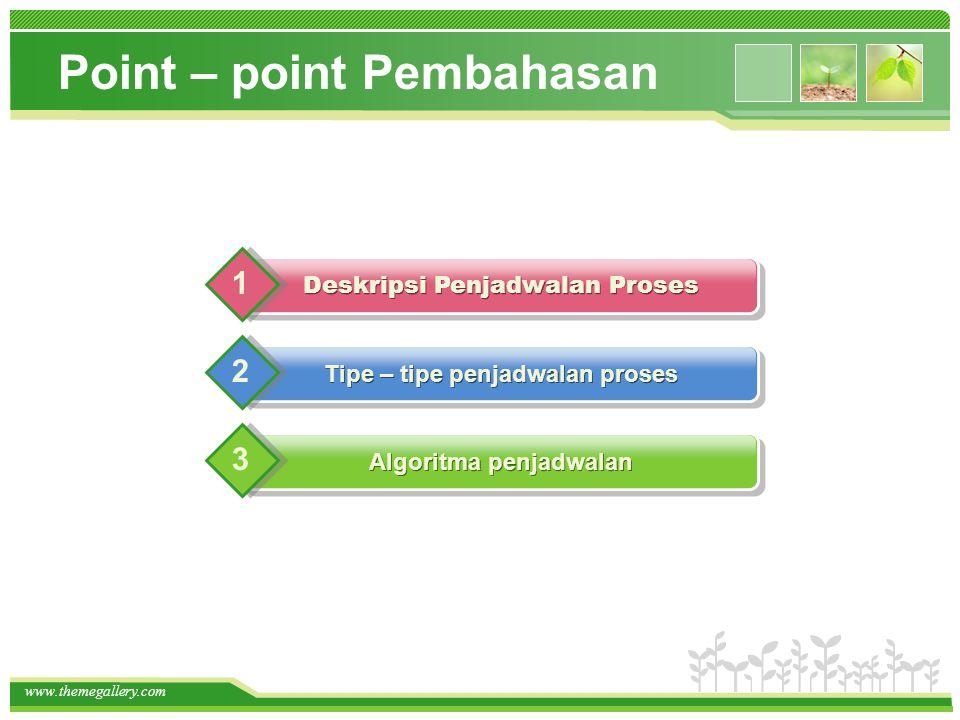 www.themegallery.com Point – point Pembahasan Algoritma penjadwalan Tipe – tipe penjadwalan proses 2 3 Deskripsi Penjadwalan Proses 1