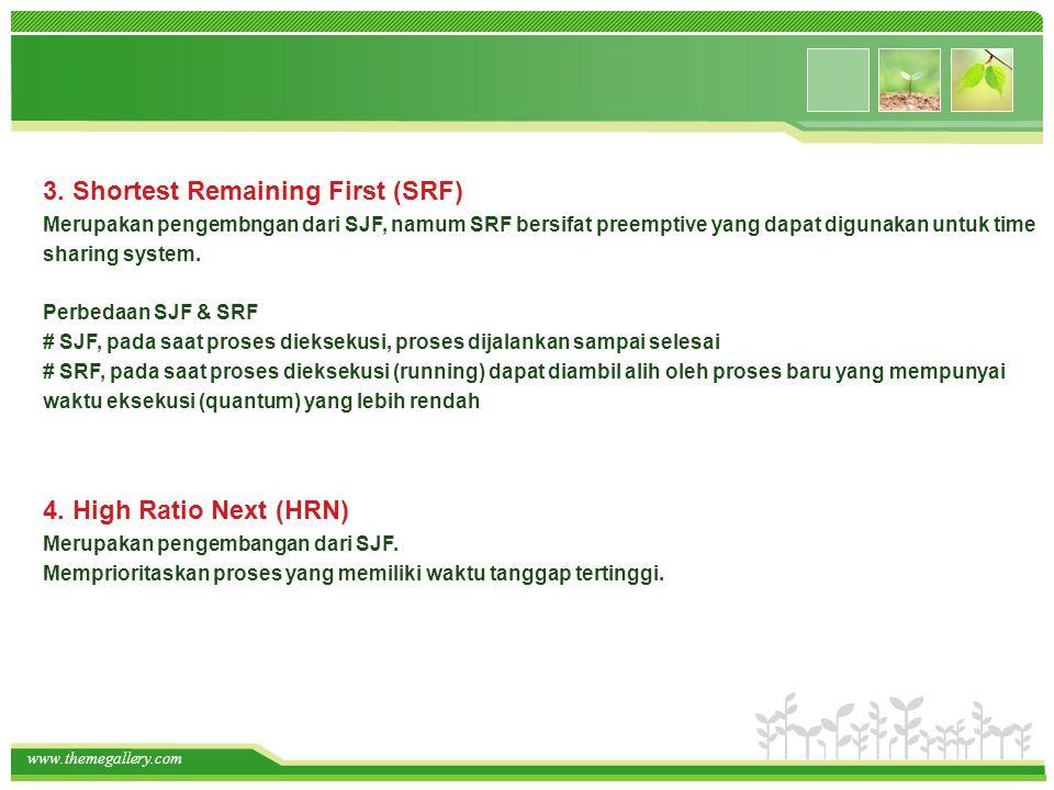 www.themegallery.com 4. High Ratio Next (HRN) Merupakan pengembangan dari SJF. Memprioritaskan proses yang memiliki waktu tanggap tertinggi. 3. Shorte