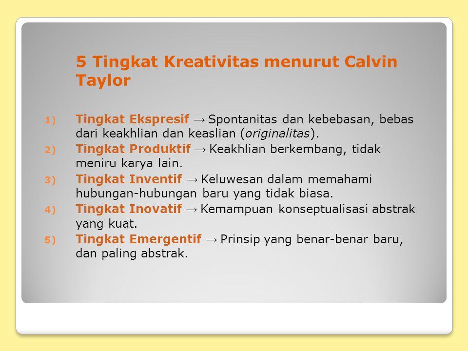 5 Tingkat Kreativitas menurut Calvin Taylor 1) Tingkat Ekspresif → Spontanitas dan kebebasan, bebas dari keakhlian dan keaslian (originalitas). 2) Tin