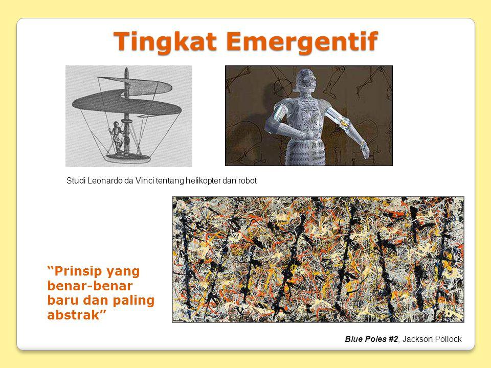 """Tingkat Emergentif Studi Leonardo da Vinci tentang helikopter dan robot """"Prinsip yang benar-benar baru dan paling abstrak"""" Blue Poles #2, Jackson Poll"""