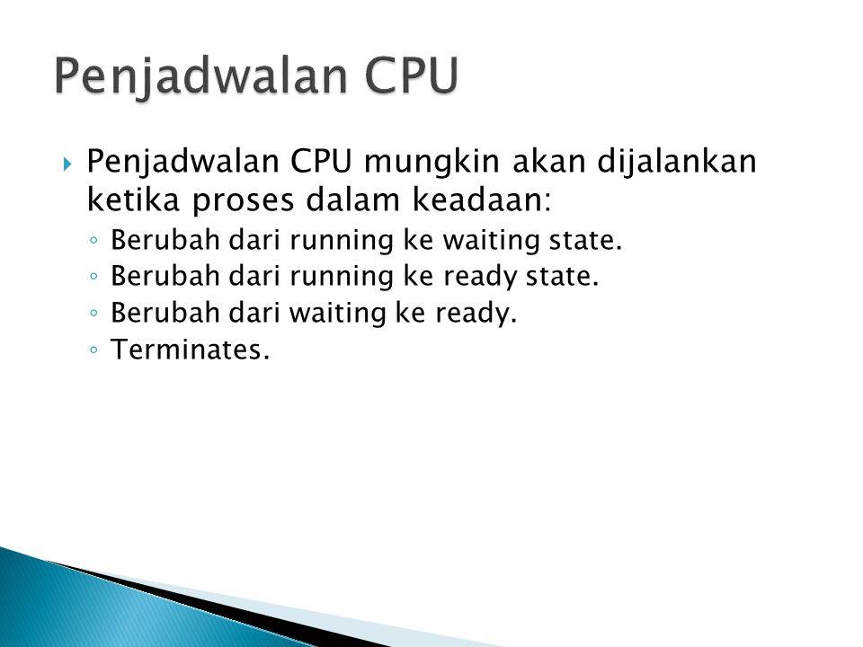  Penjadwalan CPU mungkin akan dijalankan ketika proses dalam keadaan: ◦ Berubah dari running ke waiting state. ◦ Berubah dari running ke ready state.