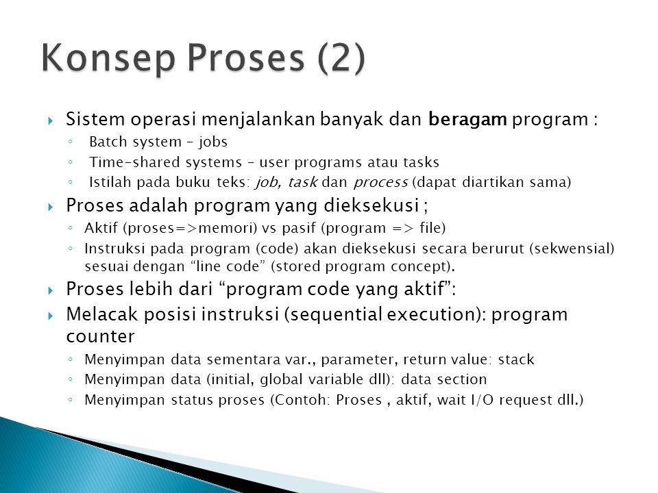  Sistem operasi menjalankan banyak dan beragam program : ◦ Batch system – jobs ◦ Time-shared systems – user programs atau tasks ◦ Istilah pada buku teks: job, task dan process (dapat diartikan sama)  Proses adalah program yang dieksekusi ; ◦ Aktif (proses=>memori) vs pasif (program => file) ◦ Instruksi pada program (code) akan dieksekusi secara berurut (sekwensial) sesuai dengan line code (stored program concept).