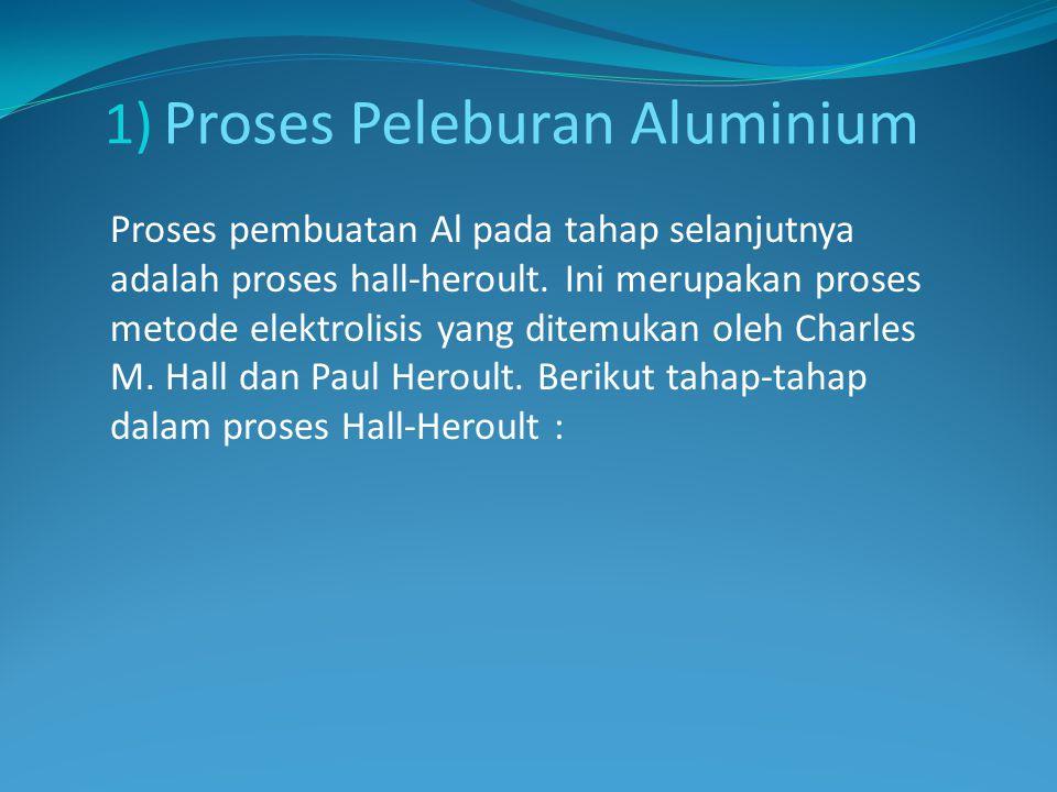 1) Proses Peleburan Aluminium Proses pembuatan Al pada tahap selanjutnya adalah proses hall-heroult. Ini merupakan proses metode elektrolisis yang dit