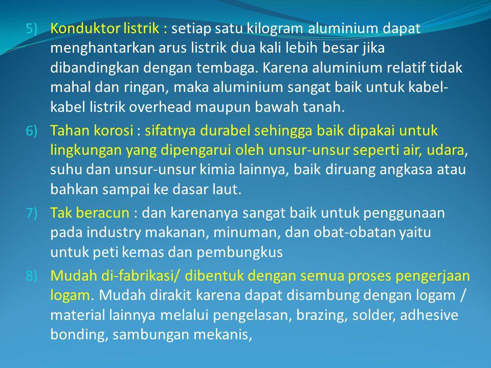 5) Konduktor listrik : setiap satu kilogram aluminium dapat menghantarkan arus listrik dua kali lebih besar jika dibandingkan dengan tembaga. Karena a