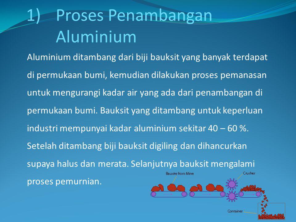 Aluminium ditambang dari biji bauksit yang banyak terdapat di permukaan bumi, kemudian dilakukan proses pemanasan untuk mengurangi kadar air yang ada