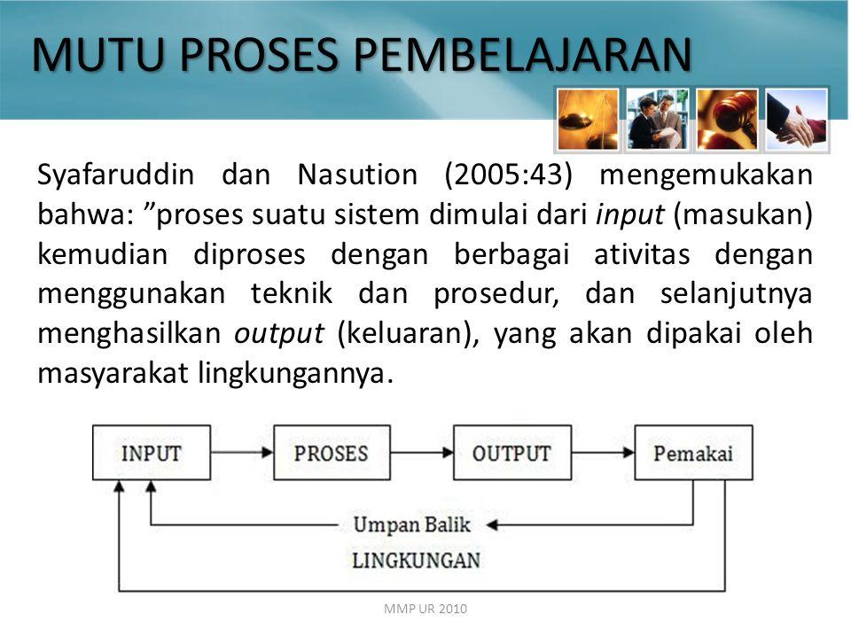 MMP UR 2010 Syafaruddin dan Nasution (2005:43) mengemukakan bahwa: proses suatu sistem dimulai dari input (masukan) kemudian diproses dengan berbagai ativitas dengan menggunakan teknik dan prosedur, dan selanjutnya menghasilkan output (keluaran), yang akan dipakai oleh masyarakat lingkungannya.
