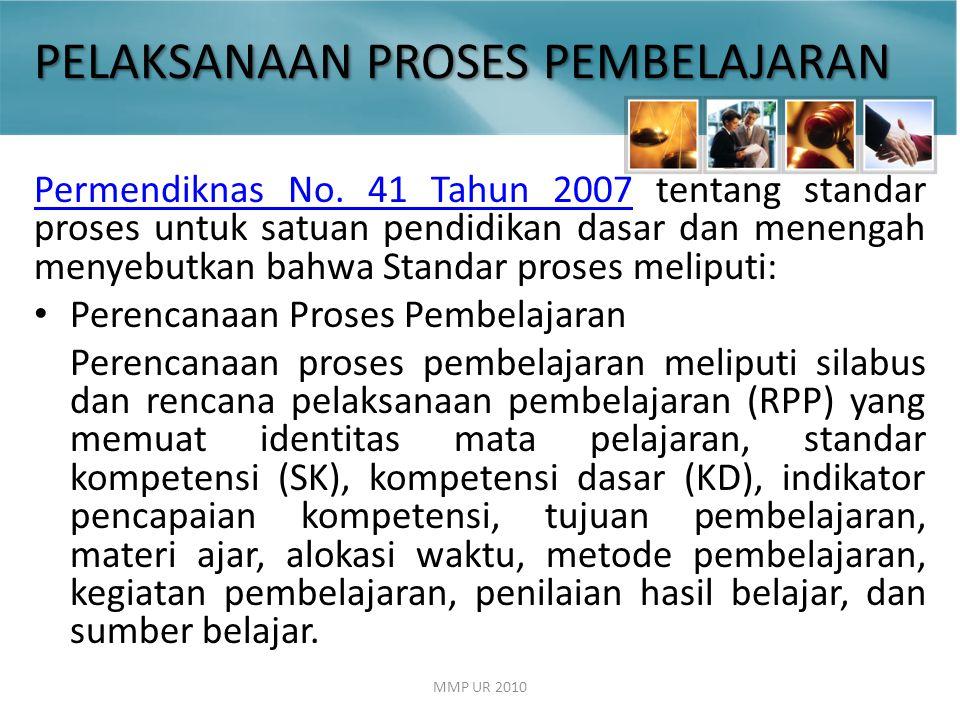 PELAKSANAAN PROSES PEMBELAJARAN Permendiknas No.41 Tahun 2007Permendiknas No.