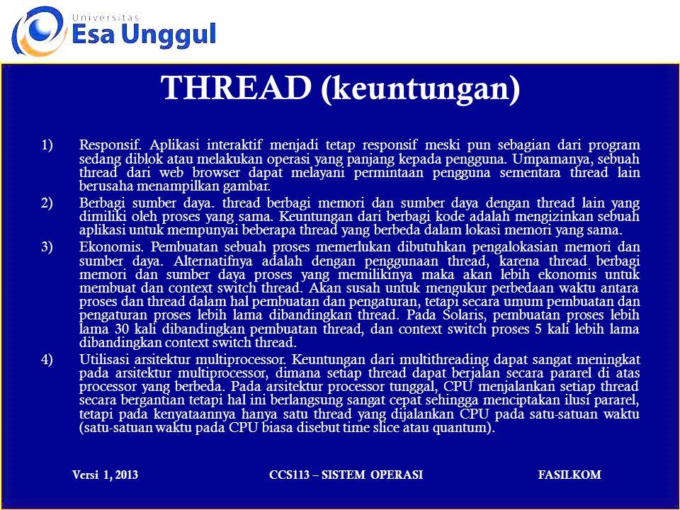 Versi 1, 2013CCS113 – SISTEM OPERASIFASILKOM 1)Responsif.