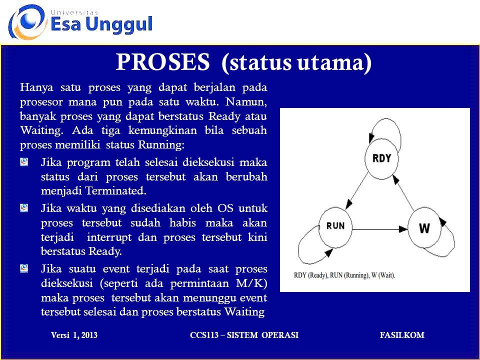 Versi 1, 2013CCS113 – SISTEM OPERASIFASILKOM Hanya satu proses yang dapat berjalan pada prosesor mana pun pada satu waktu.