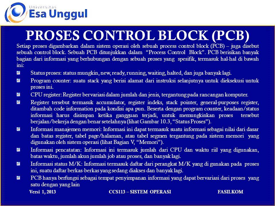 Versi 1, 2013CCS113 – SISTEM OPERASIFASILKOM Setiap proses digambarkan dalam sistem operasi oleh sebuah process control block (PCB) – juga disebut sebuah control block.