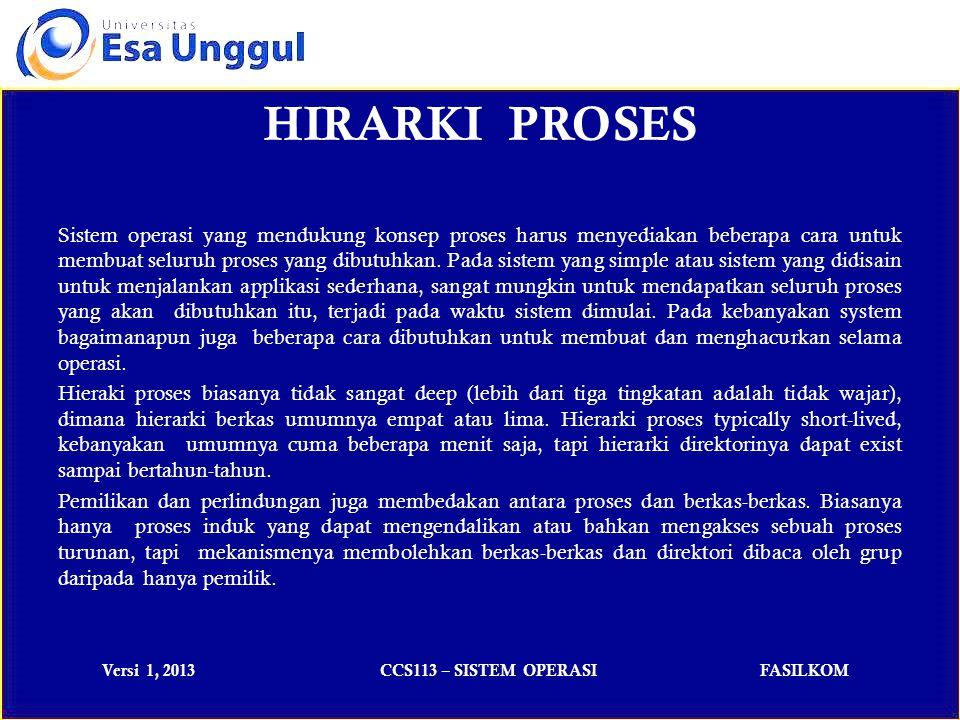 Versi 1, 2013CCS113 – SISTEM OPERASIFASILKOM Rangkuman Proses Sebuah proses adalah suatu program yang sedang dieksekusi.