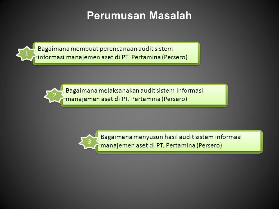 Perumusan Masalah Bagaimana membuat perencanaan audit sistem informasi manajemen aset di PT. Pertamina (Persero) 1 Bagaimana melaksanakan audit sistem