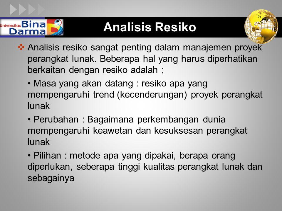 LOGO Analisis Resiko  Analisis resiko sangat penting dalam manajemen proyek perangkat lunak. Beberapa hal yang harus diperhatikan berkaitan dengan re