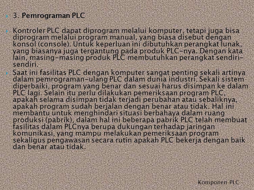 Komponen PLC  3. Pemrograman PLC  Kontroler PLC dapat diprogram melalui komputer, tetapi juga bisa diprogram melalui program manual, yang biasa dise