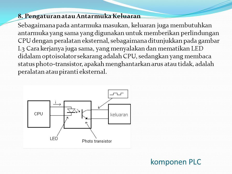 komponen PLC 8. Pengaturan atau Antarmuka Keluaran Sebagaimana pada antarmuka masukan, keluaran juga membutuhkan antarmuka yang sama yang digunakan un