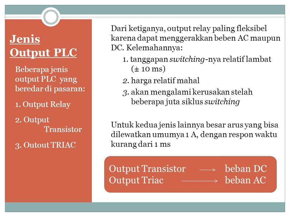 Jenis Output PLC Beberapa jenis output PLC yang beredar di pasaran: 1. Output Relay 2. Output Transistor 3. Outout TRIAC Dari ketiganya, output relay