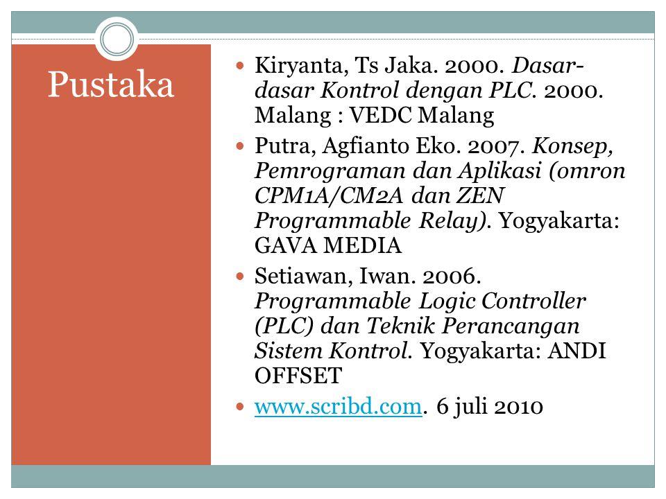 Pustaka Kiryanta, Ts Jaka. 2000. Dasar- dasar Kontrol dengan PLC. 2000. Malang : VEDC Malang Putra, Agfianto Eko. 2007. Konsep, Pemrograman dan Aplika