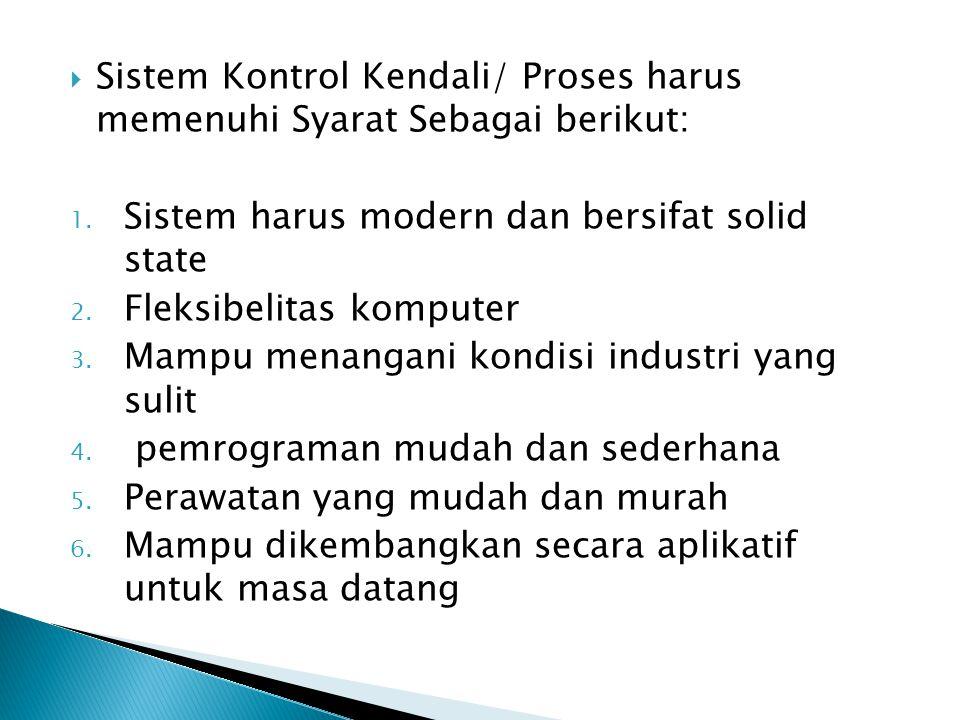  Sistem Kontrol Kendali/ Proses harus memenuhi Syarat Sebagai berikut: 1. Sistem harus modern dan bersifat solid state 2. Fleksibelitas komputer 3. M