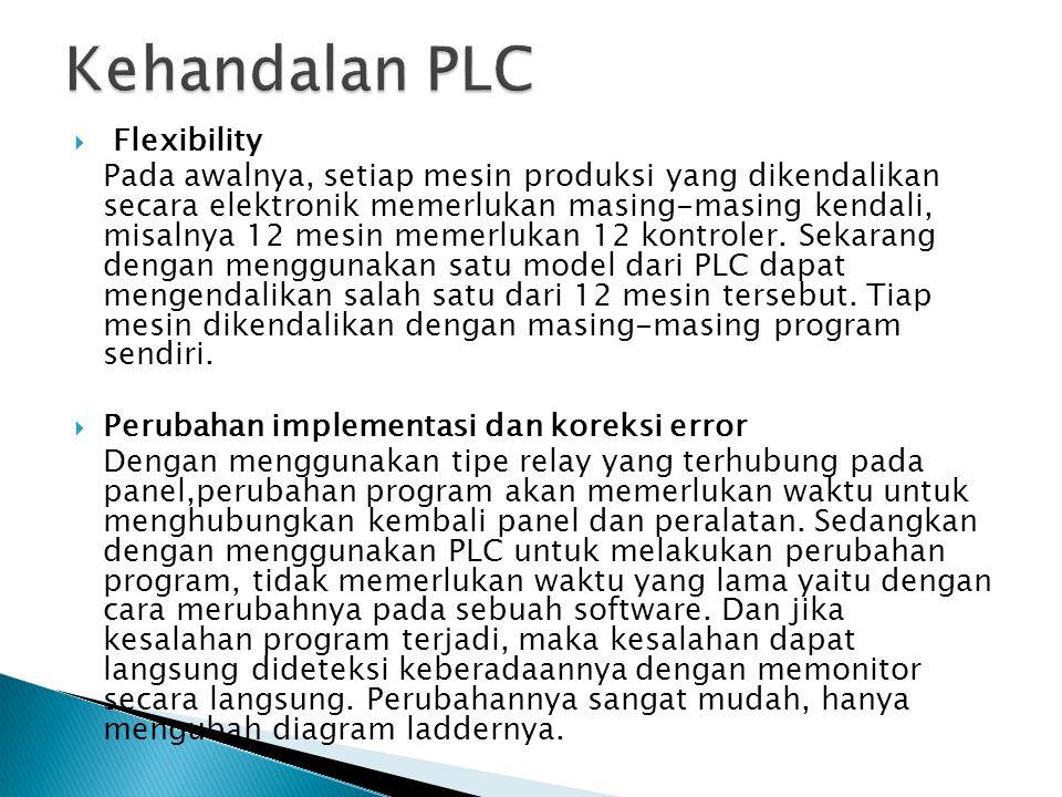  Harga yang rendah PLC lebih sederhana dalam bentuk, ukuran dan peralatan lain yang mendukungnya, sehingga harga dapat dijangkau.