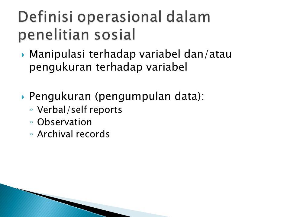  Manipulasi terhadap variabel dan/atau pengukuran terhadap variabel  Pengukuran (pengumpulan data): ◦ Verbal/self reports ◦ Observation ◦ Archival r