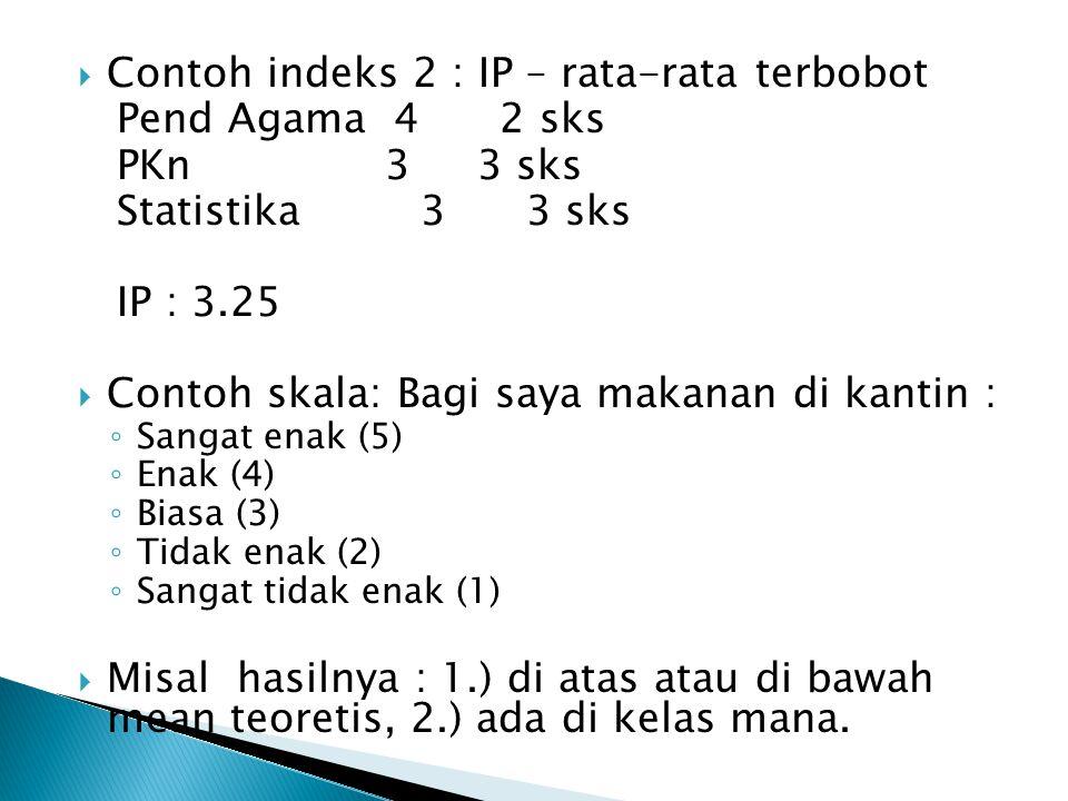  Contoh indeks 2 : IP – rata-rata terbobot Pend Agama 4 2 sks PKn3 3 sks Statistika 3 3 sks IP : 3.25  Contoh skala: Bagi saya makanan di kantin : ◦