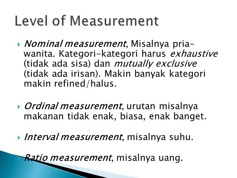  Nominal measurement, Misalnya pria- wanita. Kategori-kategori harus exhaustive (tidak ada sisa) dan mutually exclusive (tidak ada irisan). Makin ban