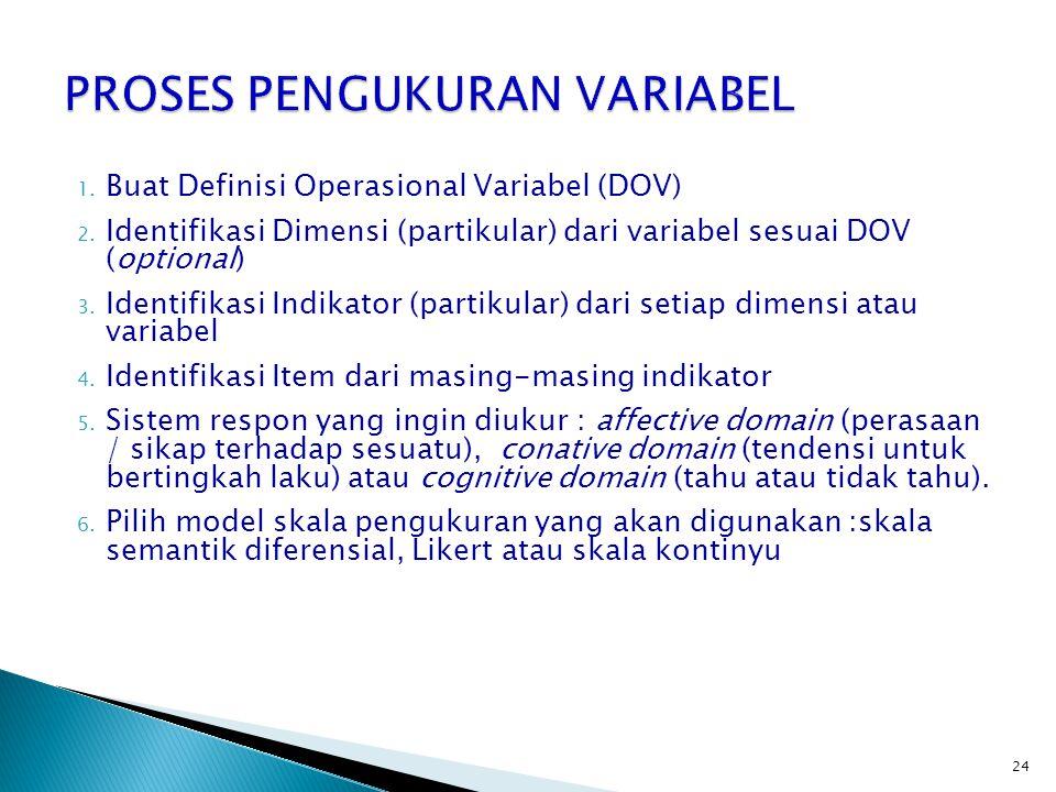 24 1. Buat Definisi Operasional Variabel (DOV) 2. Identifikasi Dimensi (partikular) dari variabel sesuai DOV (optional) 3. Identifikasi Indikator (par