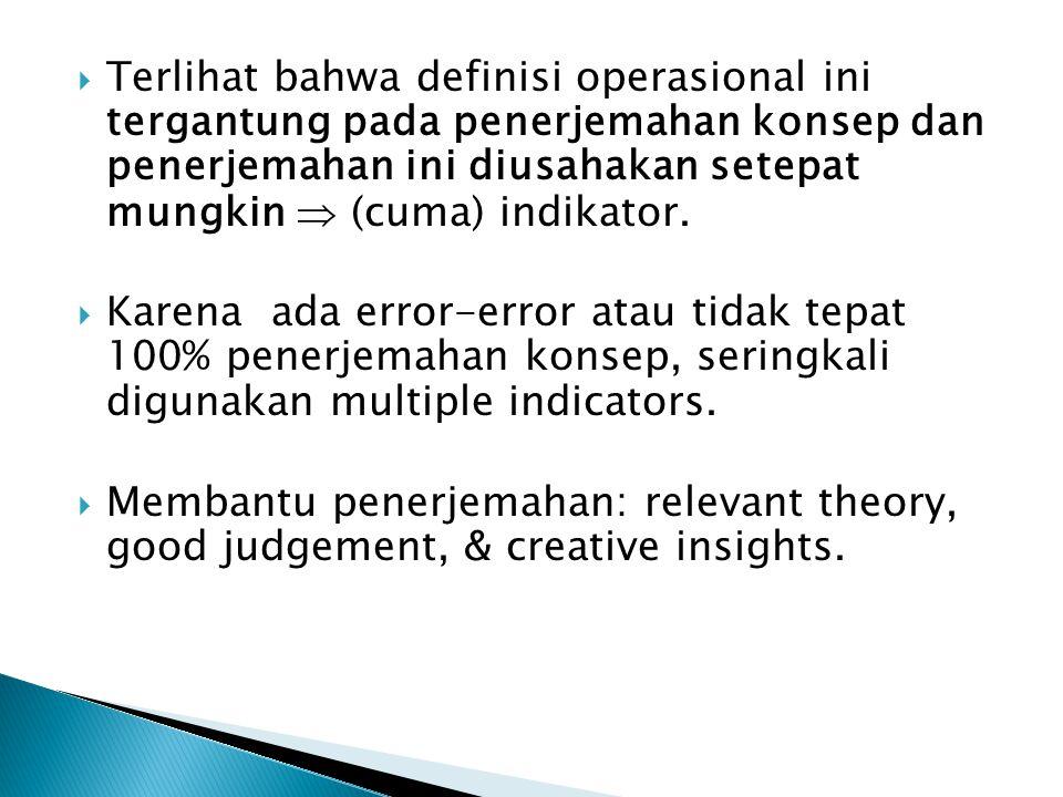  Terlihat bahwa definisi operasional ini tergantung pada penerjemahan konsep dan penerjemahan ini diusahakan setepat mungkin  (cuma) indikator.  Ka