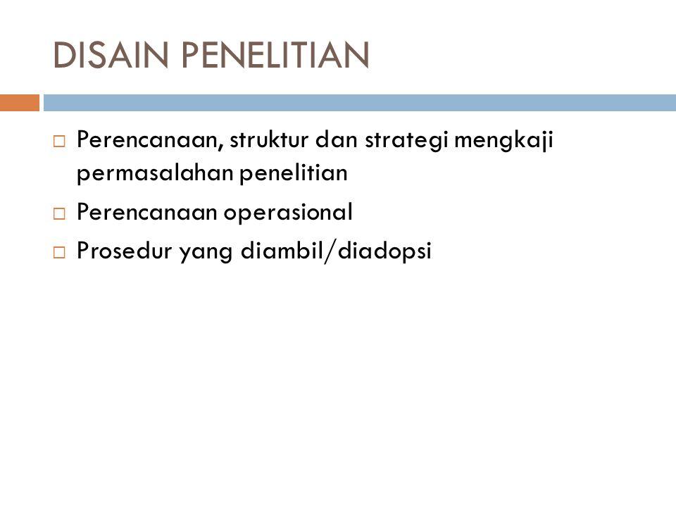 DISAIN PENELITIAN  Perencanaan, struktur dan strategi mengkaji permasalahan penelitian  Perencanaan operasional  Prosedur yang diambil/diadopsi