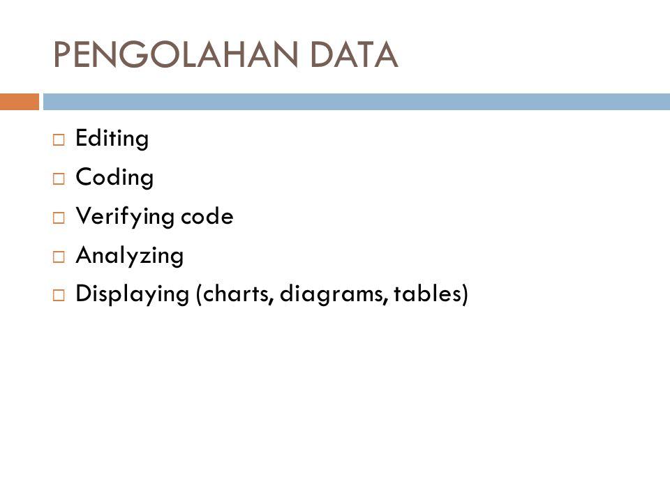 PENGOLAHAN DATA  Editing  Coding  Verifying code  Analyzing  Displaying (charts, diagrams, tables)