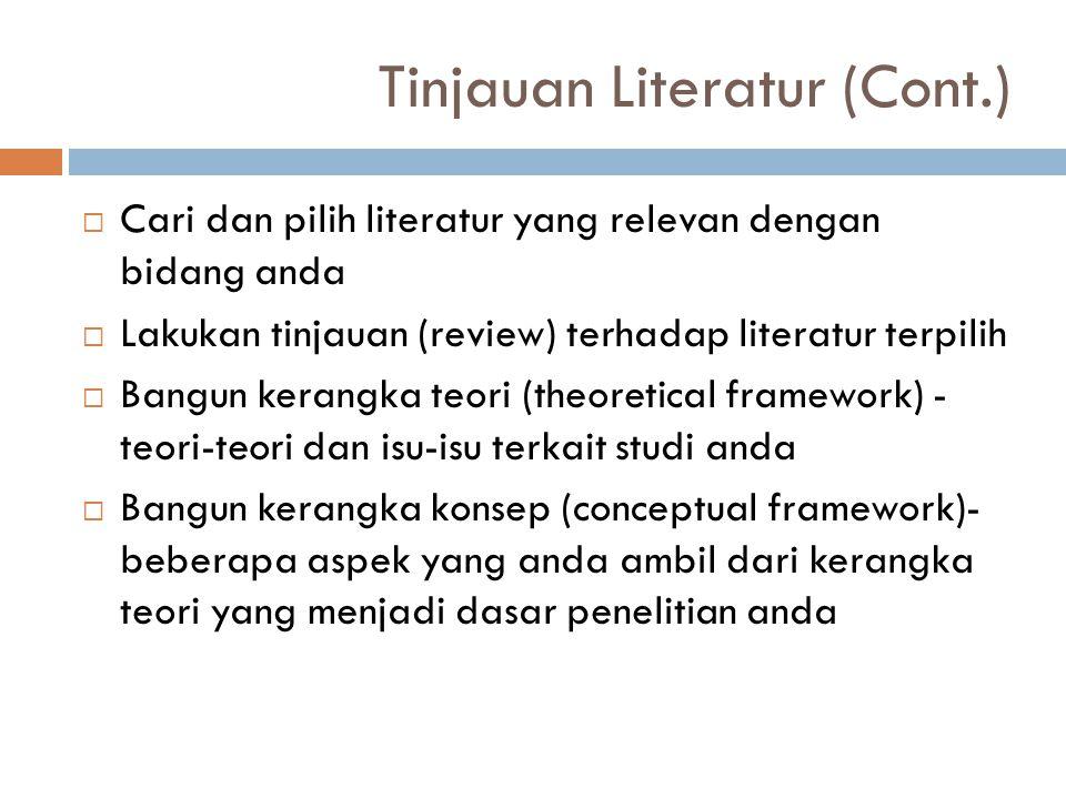 Tinjauan Literatur (Cont.)  Cari dan pilih literatur yang relevan dengan bidang anda  Lakukan tinjauan (review) terhadap literatur terpilih  Bangun