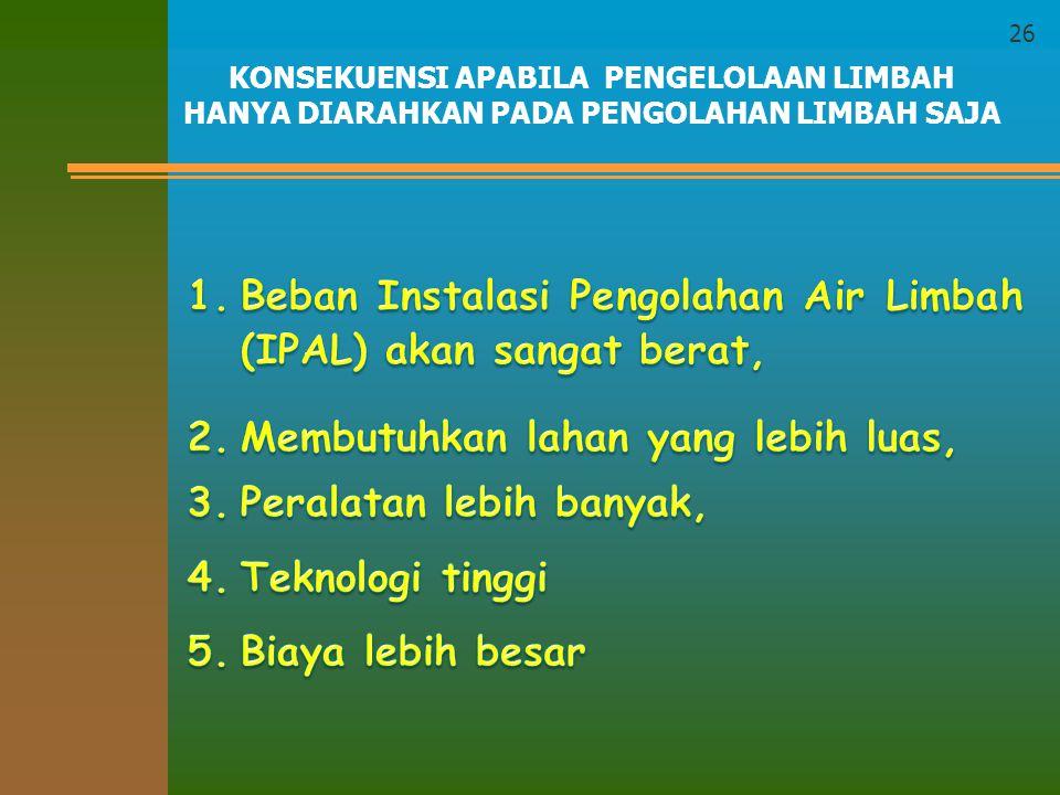 Integrasi dalam pengelolaan limbah tersebut kemudian dibuat menjadi berbagai konsep seperti: produksi bersih (cleaner production), atau minimasi limbah (waste minimization).