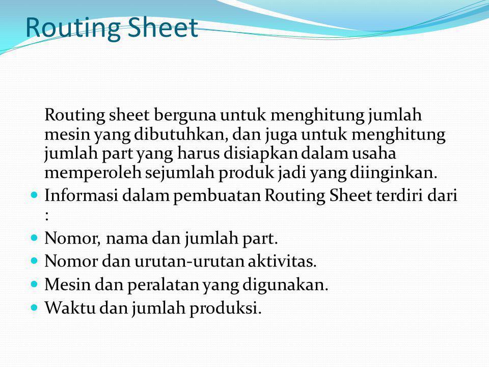 Data yang diperlukan dalam pembuatan routing sheet ini adalah : Kapasitas mesin (waktu standar dalam operasi) Presentase scrapt Efisiensi mesin Kegunaan Routing Sheet adalah sebagai berikut : Untuk menghitung jumlah mesin yang dibutuhkan.