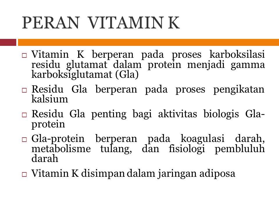 PERAN VITAMIN K  Vitamin K berperan pada proses karboksilasi residu glutamat dalam protein menjadi gamma karboksiglutamat (Gla)  Residu Gla berperan