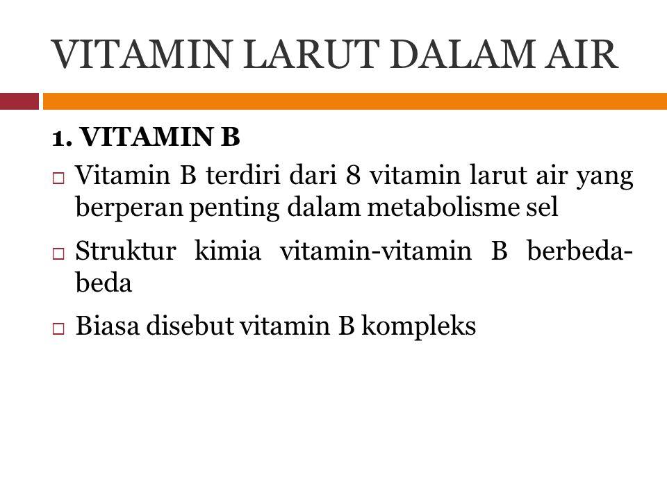 VITAMIN LARUT DALAM AIR 1. VITAMIN B  Vitamin B terdiri dari 8 vitamin larut air yang berperan penting dalam metabolisme sel  Struktur kimia vitamin