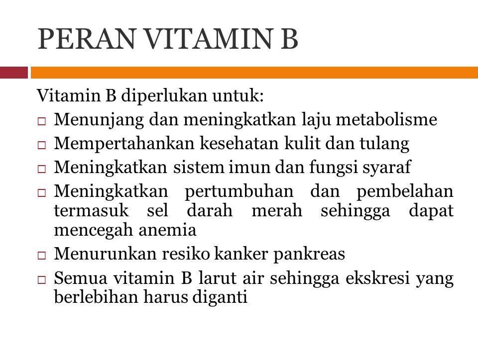 PERAN VITAMIN B Vitamin B diperlukan untuk:  Menunjang dan meningkatkan laju metabolisme  Mempertahankan kesehatan kulit dan tulang  Meningkatkan s