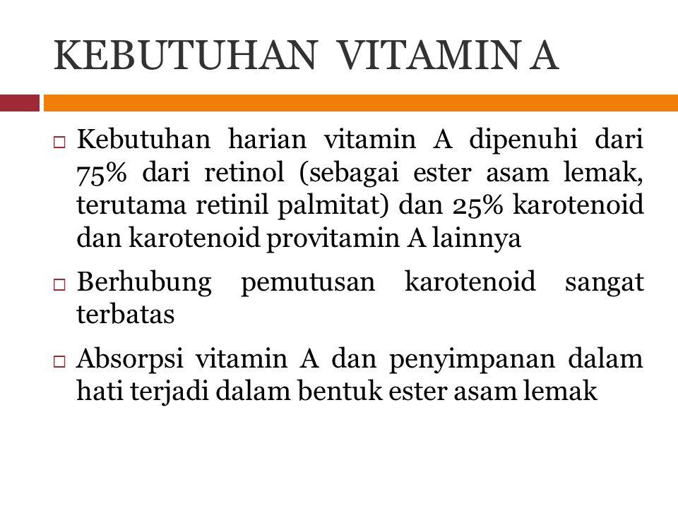 KEBUTUHAN VITAMIN A  Kebutuhan harian vitamin A dipenuhi dari 75% dari retinol (sebagai ester asam lemak, terutama retinil palmitat) dan 25% karoteno
